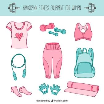 Ręcznie rysowane sprzęt fitness dla kobiet