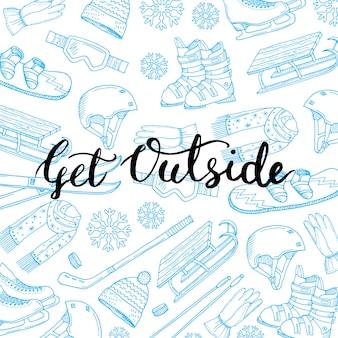 Ręcznie rysowane sprzęt i atrybuty sportów zimowych