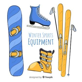 Ręcznie rysowane sprzętu sportowego zimą