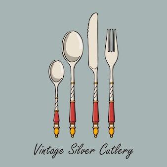 Ręcznie rysowane srebrne sztućce vintage.