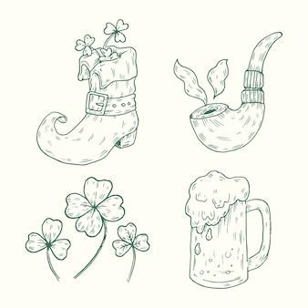 Ręcznie rysowane st. kolekcja elementów patricks day