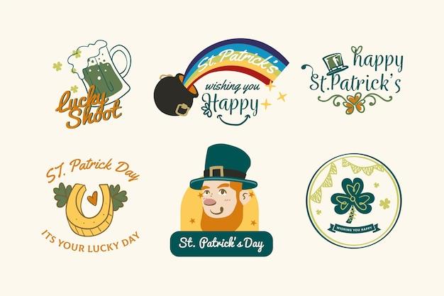 Ręcznie rysowane st. kolekcja etykiet / odznak z okazji dnia patryka