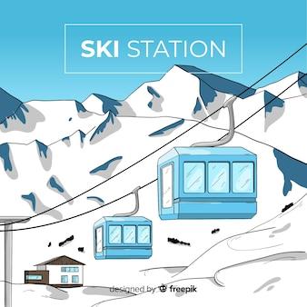Ręcznie rysowane stację narciarską tle