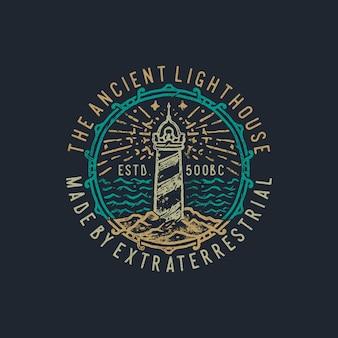 Ręcznie rysowane starożytnej latarni morskiej vintage ilustracji