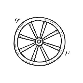 Ręcznie rysowane stary element koła wozu. komiks doodle styl szkicu. drewniane koło dla kowboja, ikona zachodniej koncepcji. ilustracja na białym tle wektor.