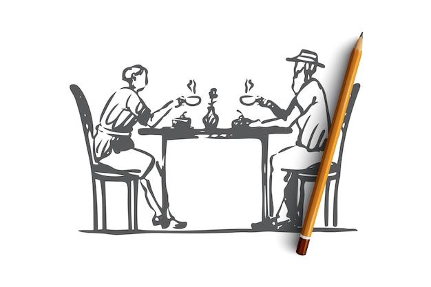 Ręcznie rysowane stary mężczyzna i kobieta pić szkic koncepcji kawy