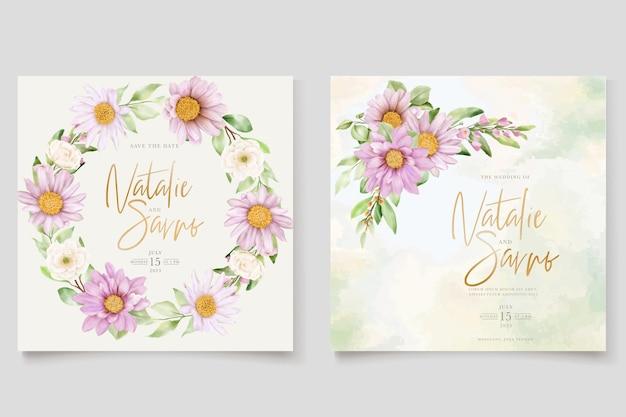 Ręcznie rysowane stokrotka akwarela kwiatowy i pozostawia zestaw kart z zaproszeniem