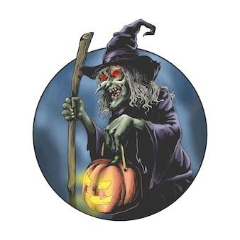 Ręcznie rysowane straszna czarownica na halloween