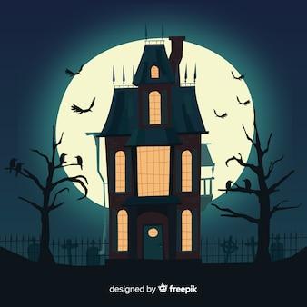 Ręcznie rysowane straszny halloween nawiedzony dom