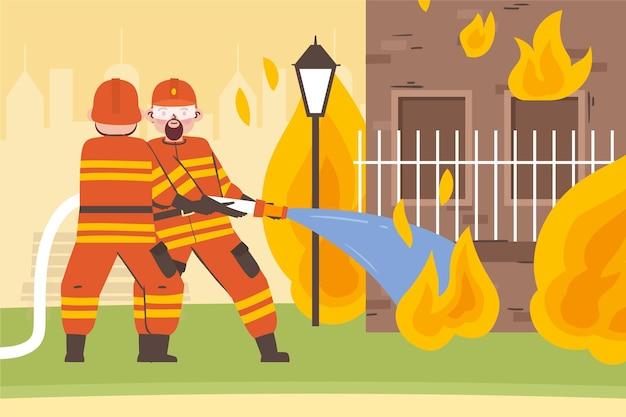 Ręcznie rysowane strażacy gaszący pożar