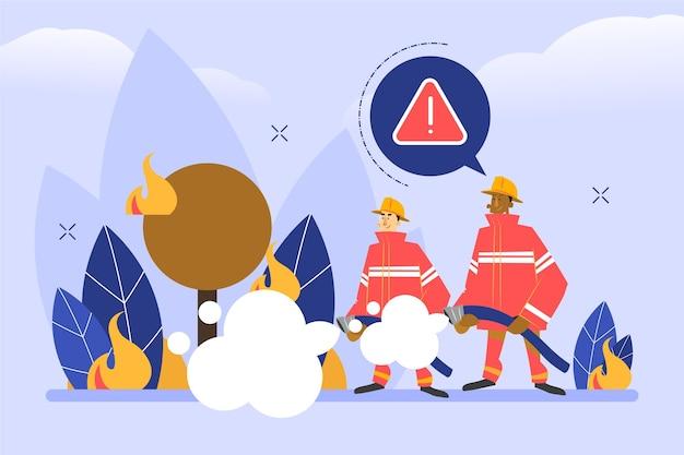 Ręcznie rysowane strażacy pomagają przyrodzie