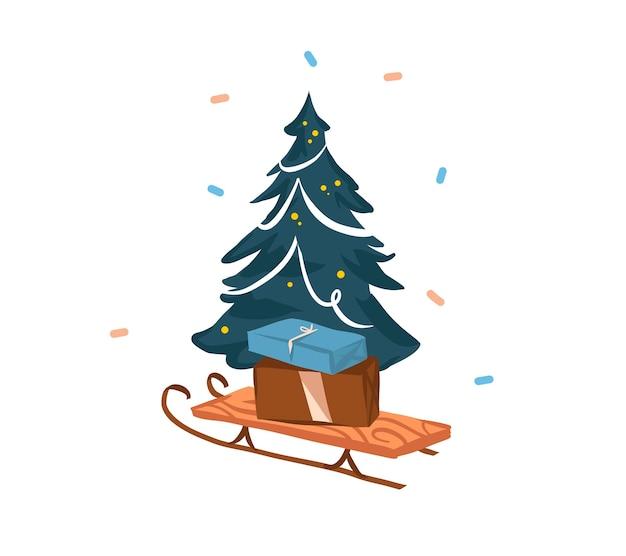 Ręcznie rysowane streszczenie akcji wesołych świąt i szczęśliwego nowego roku kreskówka świąteczna karta