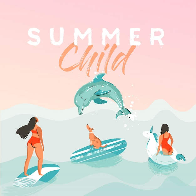 Ręcznie rysowane streszczenie czas letni zabawny ilustracja plakat z surferami w białym kółku pływaka jednorożca, bikini z psem na tekstury fal oceanu niebieski i nowoczesną kaligrafię cytat lato dziecko