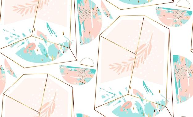 Ręcznie rysowane streszczenie geometryczny wzór bez szwu z kryształowym terrarium