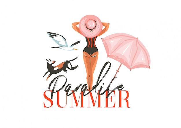 Ręcznie rysowane streszczenie graficzny kreskówka lato czas płaskie ilustracje znak z dziewczyną, ptakami, parasol plażowy, pies i raj lato typografii na białym tle