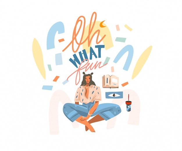Ręcznie rysowane streszczenie ilustracji graficznej z młodą studentką studiuje czytanie w domu i abstrakcyjne konfetti, faza odręcznego napisu och, jaka zabawa na białym tle.