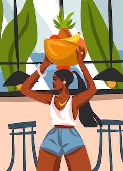 Ręcznie rysowane streszczenie ilustracji graficznej z młodą szczęśliwą czarną afro-amerykańską piękność kobietą, nosi kosz owoców na głowie w miejskiej kawiarni na białym tle.