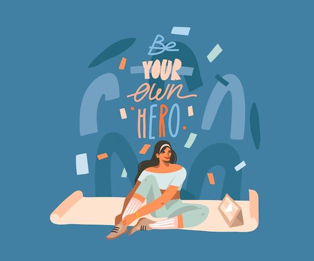 Ręcznie rysowane streszczenie ilustracji grafiki z młodą szczęśliwą kobietą, na matę, oglądanie szkolenia online wideo na komputerze typu tablet i motywacyjny napis na białym tle na tle kolażu