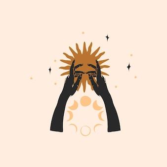 Ręcznie rysowane streszczenie ilustracji, magiczna grafika liniowa złotego słońca, ludzka ręka sylwetka