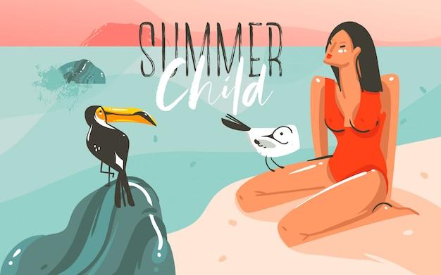 Ręcznie rysowane streszczenie kreskówka czas letni ilustracje graficzne sztuki szablon tło z oceanu krajobraz plaży, różowy zachód słońca, tukan ptak i piękna dziewczyna z cytatem typografia lato dziecko