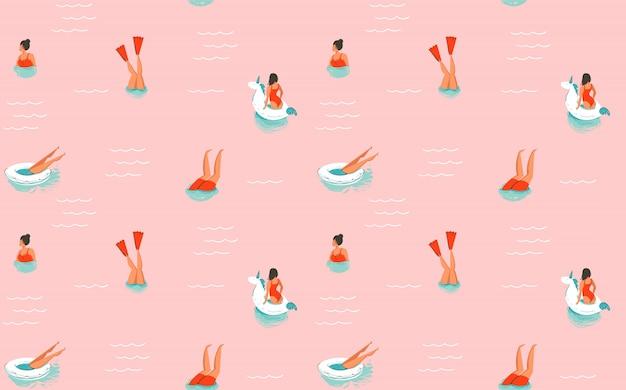 Ręcznie rysowane streszczenie kreskówka czas letni zabawa ilustracja wzór z pływaniem ludzi na różowym tle