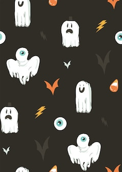 Ręcznie rysowane streszczenie kreskówka happy halloween ilustracje kolekcja wzór z elementami dekoracji różnych zabawnych duchów na tle.