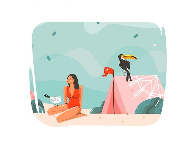 Ręcznie rysowane streszczenie kreskówka lato czas graficzne ilustracje sztuki szablon tło z oceanu krajobraz plaży, różowy namiot, ptak tukan i piękna dziewczyna z miejsca kopiowania tekstu