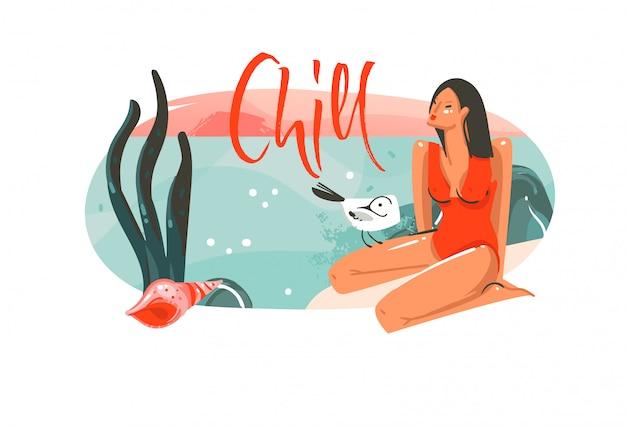 Ręcznie rysowane streszczenie kreskówka lato czas hawajskie ilustracje graficzne szablon sztuka tło logo projekt z oceanu krajobraz plaży, różowy zachód słońca i piękna dziewczyna z cytatem typografii chill