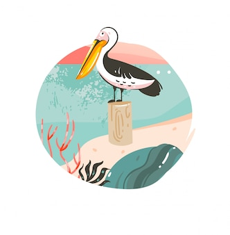 Ręcznie rysowane streszczenie kreskówka lato czas ilustracje graficzne szablon tło odznaka z krajobrazem plaży oceanu, różowy zachód słońca i ptak pelikan piękna z miejscem na kopię tekstu