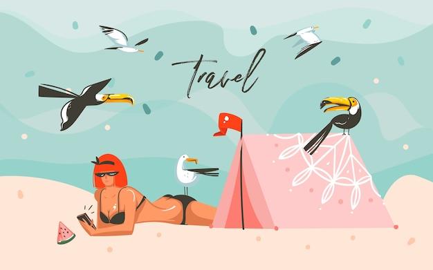 Ręcznie rysowane streszczenie kreskówka lato czas ilustracje graficzne szablon tło z krajobrazem plaży oceanu, dziewczyna, tropikalne ptaki, namiot i tekst typografii podróży.