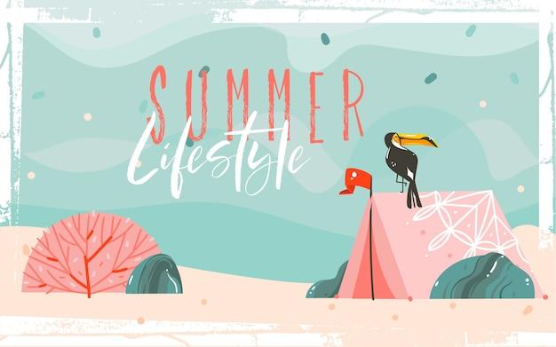 Ręcznie rysowane streszczenie kreskówka lato czas ilustracje graficzne szablon tło z piaszczystą plażą morską, niebieskie fale, tukan ptak, różowy czeski namiot kempingowy i cytat typografii.