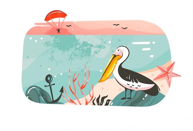 Ręcznie rysowane streszczenie kreskówka lato czas ilustracje graficzne transparent tło z krajobrazem plaży oceanu, różowy widok zachodu słońca, ptak pelikan z miejscem na kopię tekstu na białym