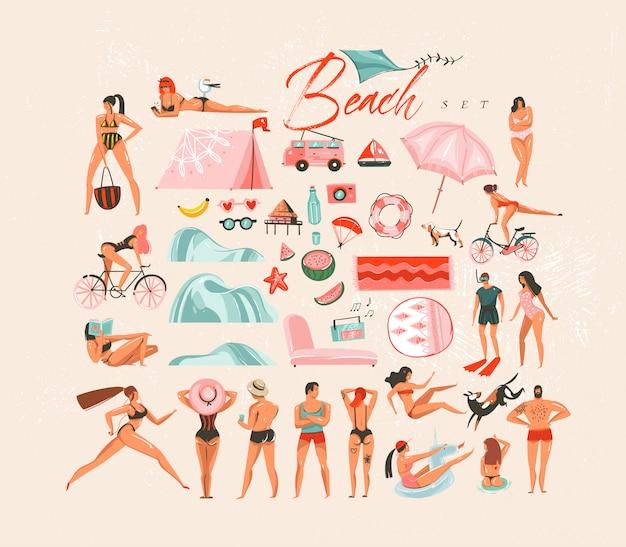 Ręcznie rysowane streszczenie kreskówka lato czas zabawy duża zabawa dekoracji pływanie osób grupy kolekcji ilustracje zestaw pakiet twórca sceny na białym tle