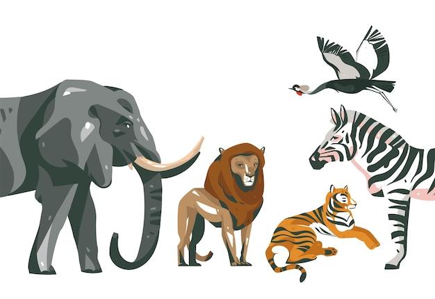 Ręcznie rysowane streszczenie kreskówka nowoczesna grafika afrykańskiego safari kolaż ilustracje sztuki baner ze zwierzętami safari na białym tle na kolor biały.