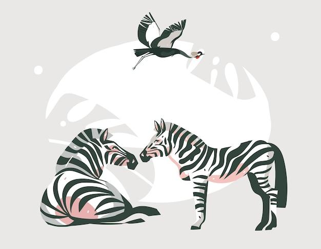 Ręcznie rysowane streszczenie kreskówka nowoczesna grafika afrykańskiego safari kolaż ilustracje sztuki baner ze zwierzętami safari na białym tle na pastelowy kolor tła.