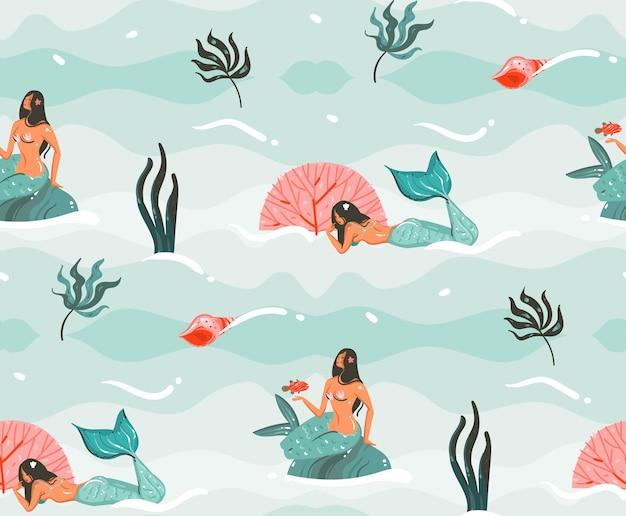 Ręcznie rysowane streszczenie kreskówki graficzny czas letni podwodne ilustracje wzór z meduzami, rybami i postaciami syrenek dziewczyny na białym tle na niebieskim tle.