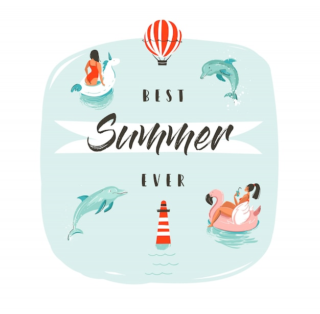 Ręcznie rysowane streszczenie lato zabawy ilustracja z pływania szczęśliwych ludzi w wodzie z skaczących delfinów i nowoczesnej typografii faza najlepsze lato kiedykolwiek.