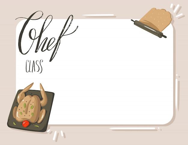 Ręcznie rysowane streszczenie nowoczesne kreskówka gotowanie ilustracje studio kopia miejsce templete karta z nowoczesnym odręcznym tekstem kaligrafii szef kuchni klasy na białym tle