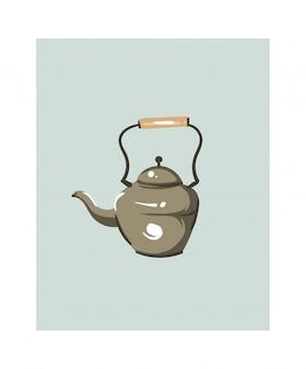 Ręcznie rysowane streszczenie nowoczesny kreskówka czas gotowania zabawa ilustracje ikona z dużym rocznika czajnik na białym tle.