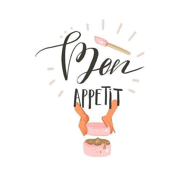 Ręcznie rysowane streszczenie nowoczesny kreskówka czas gotowania zabawne ilustracje znak projekt z rękami kobiety robiącej ciasto i nowoczesna odręczna kaligrafia bon appetit na białym tle
