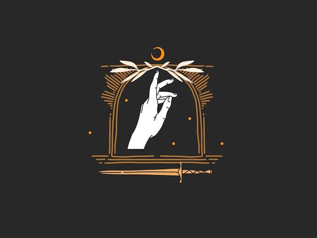 Ręcznie rysowane streszczenie płaski graficzny ilustracja z elementami logo