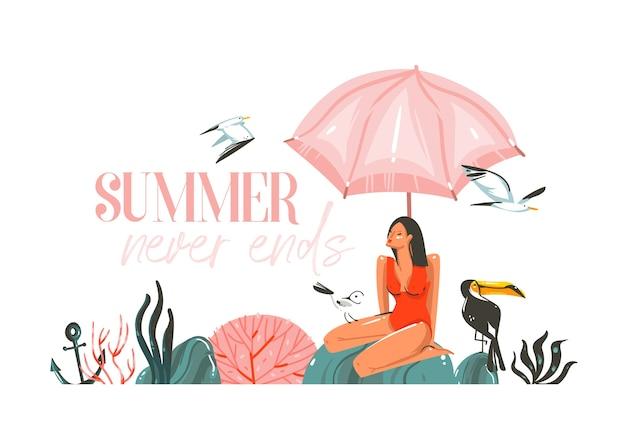 Ręcznie rysowane streszczenie płaski graficzny ilustracja z młoda, szczęśliwa piękna kobieta w bikini strój kąpielowy na scenie na plaży na białym tle.
