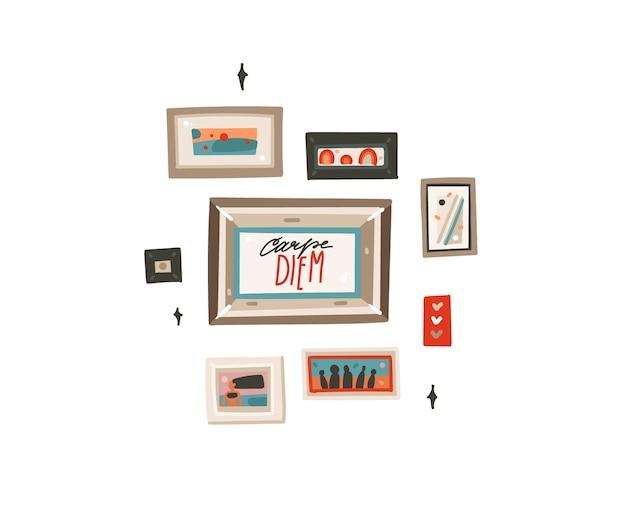 Ręcznie rysowane streszczenie płaskich graficznych ilustracji z wewnętrznymi ramami ściennymi i motywacyjnym napisem cytat carpe diem na białym tle.