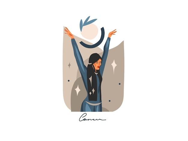 Ręcznie rysowane streszczenie płaskich ilustracji ze znakiem zodiaku rak z magiczną postacią żeńską piękna, projekt artystyczny kreskówka na białym tle