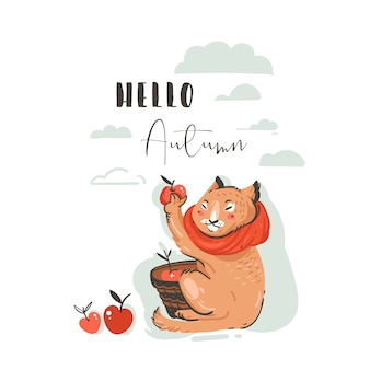Ręcznie rysowane streszczenie powitanie kreskówka jesień ilustracja zestaw z ładny kot charakter zebrał zbiory jabłek