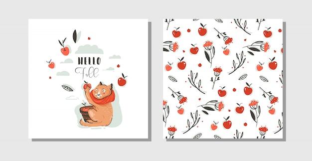 Ręcznie rysowane streszczenie powitanie kreskówka jesień karty ustawić szablon z uroczą postacią kota zebrać zbiory jabłek z nowoczesną typografią hello fall na białym tle.