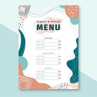 Ręcznie rysowane streszczenie szablon menu restauracji