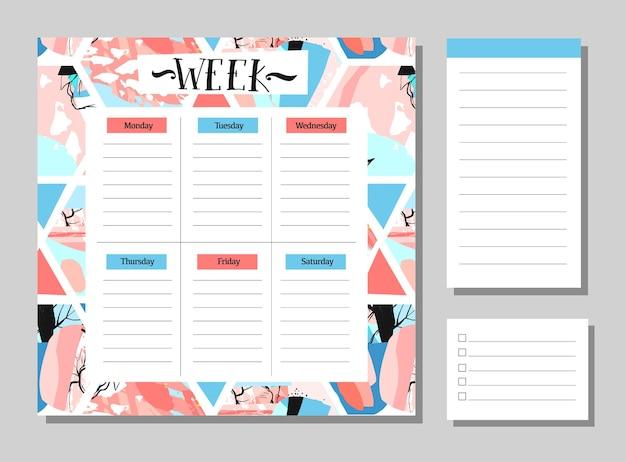 Ręcznie rysowane streszczenie tydzień planner z notatkami