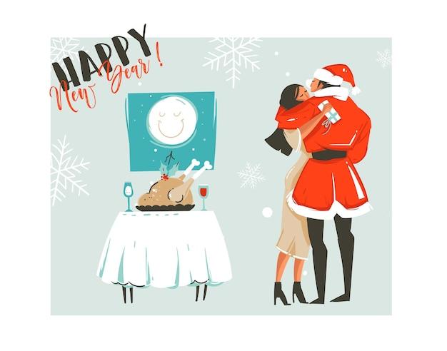 Ręcznie rysowane streszczenie wesołych świąt czas kreskówka retro vintage ilustracje karty z romantyczną parą, która całuje i przytulanie, świąteczny obiad i szczęśliwego nowego roku tekst na białym tle.