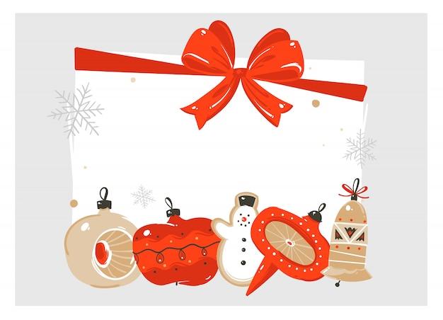 Ręcznie rysowane streszczenie wesołych świąt i szczęśliwego nowego roku czas ilustracja kreskówka kartkę z życzeniami z rocznika zabawki choinkowe cacko i miejsce miejsce na tekst na białym tle